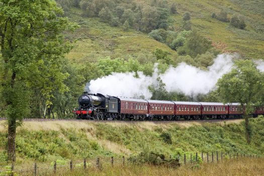 The Great Marquis heads a rail charter on Loch Lomond side near Arrochar