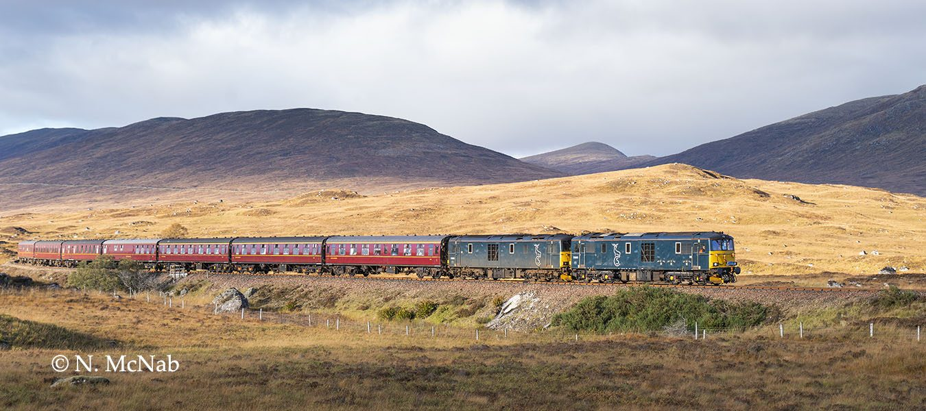 Two Class 73 locos head a southbound SRPS Charter north of Rannoch Station, October 2018.