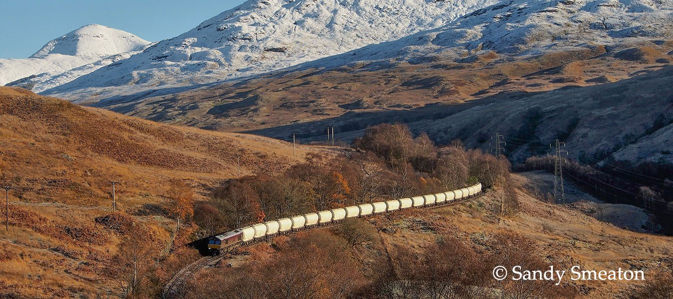 Alumina Train heads south thro' Glen Falloch