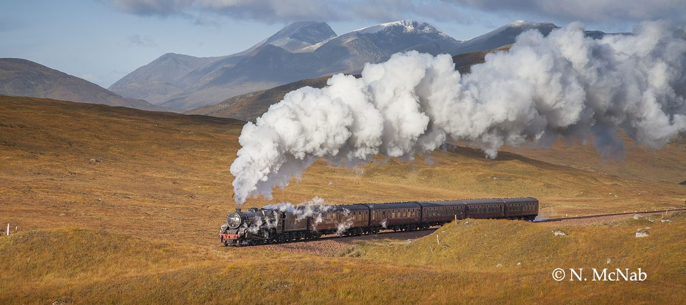 Black 5 44996 climbing towards Corrour Summit with special charter, October 2009.
