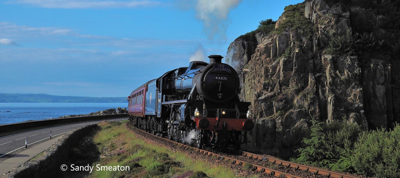 44871 leaving Mallaig with the Jacobite with Skye in the background, July 2021